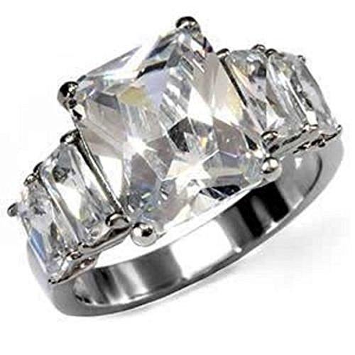 Yourjewellerybox - Anillo con detalle de diamante falso - acero inoxidable, talla 21,5 (19,58 mm)