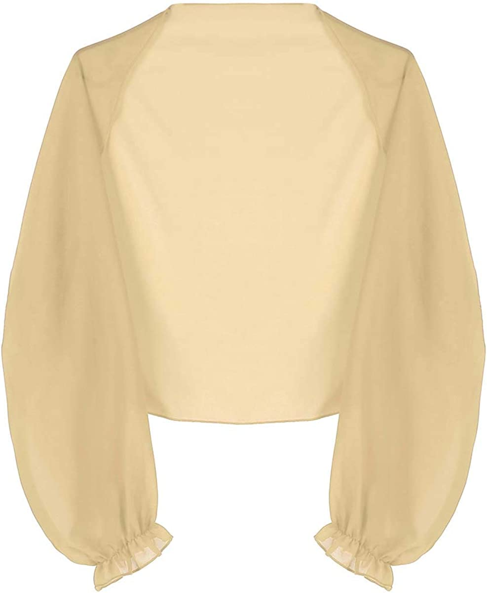 Aiihoo Women's Soft Chiffon Open Front Kimono Cardigan Long Raglan Sleeve Shrug Swimwear Cover Up