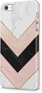 uCOLOR Triangle Rose Gold Sparkle Black White Marble Case Compatible with iPhone 5S/5/SE Cute Protective Case Slim Soft TPU Silicon Shockproof Cover