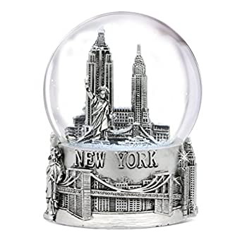 Silver New York City Snow Globe 4.5 Inch Tall NYC Snow Globes Collection  80mm Glass Globe