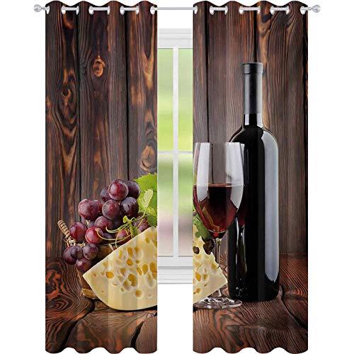 Cortinas de ventana con reducción de ruido, botella de vino