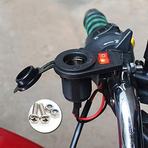 Toma de Mechero de Motocicleta, MoreChioce 12V Toma de Corriente Impermeable 36W Cargador Manillar Motocicleta Toma de Mechero con Tapa Conector Impermeable para Encendedor Eléctrico para Motocicleta