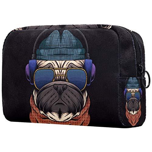 KAMEARI Bolsa de cosméticos para perro carlino con auriculares gafas vaquero grande bolsa de cosméticos organizador multifuncional bolsas de viaje