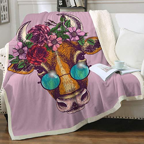 Dear Diary Store Manta de forro polar ultrasuave de sherpa, boho, floral, con gafas de sol, sofá, sofá, felpa, manta de felpa para cama individual de 152 x 203 cm
