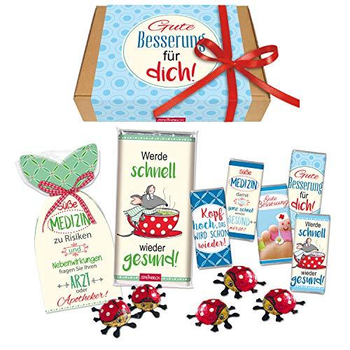 STEINBECK Gute Besserung Geschenkbox Geschenk Süße Medizin Mitbringsel Präsentkorb Geschenkkorb Geschenkset Schokolade Fruchtgummi Krankenbesuch Erkältung Genesungswünsche