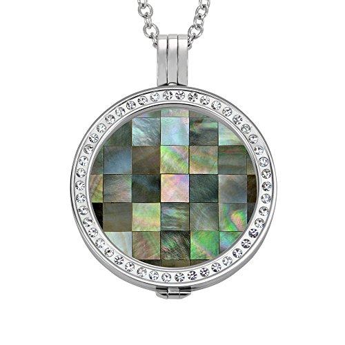 Quiges 90cm Halskette Set Silber Edelstahl mit Crystal Pendant and 33mm Groß Glänzende Fliesen Coin