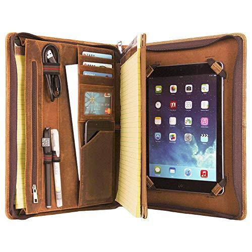 Schreibmappe Leder A4 Konferenzmappe Organizer mit Reißverschluss, Hochwertige konferenzmappe mit Schreibblock Halter, Tablet Mappe für iPad Pro 10.5 / iPad Pro 11(2018/2020), Braun