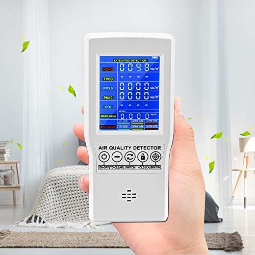 HUKOER Monitor De Calidad Del Aire Probador De CO2   HCHO TVOC   PM2.5   PM10, Monitor De Calidad Del Aire Profesional, Herramienta De Prueba De Detector De Múltiples Funciones