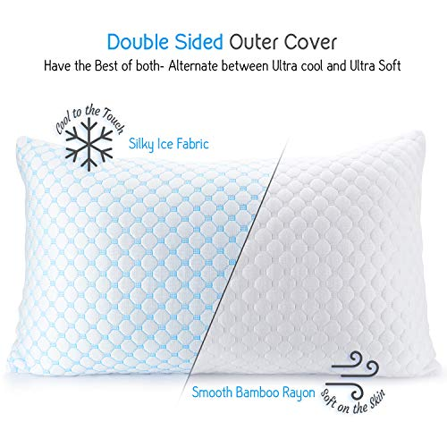 """Nestl Coolest Pillow Heat and Moisture Reducing Ice Silk and Gel Infused Memory Foam Pillow. Adjustable, Washable, Breathable - King - 18"""" X 36"""" - 1 Pack"""