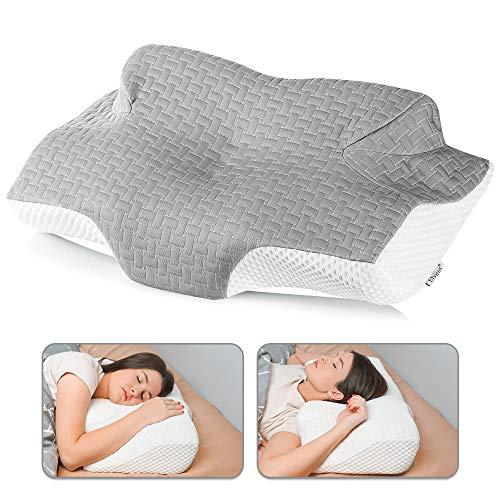 Elviros Almohada de Espuma con Memoria de Contorno Cervical para el Dolor de Cuello, Almohadas para Cuello