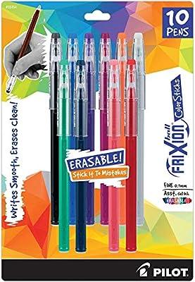 Pilot Frixion ColorSticks Erasable Gel Ink Pens, Fine Point (0.7mm), Assorted, 10 Count (32454)