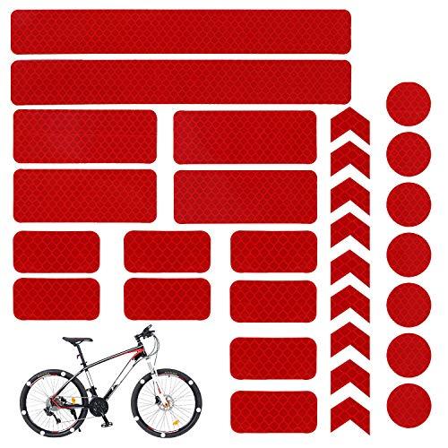 Kit de pegatinas reflectantes de 30 piezas, calcomanías adhesivas universales blancas para motocicletas/cascos/cascos/bicicletas/cochecitos/sillas de ruedas/buggy/scooter (Rojo)