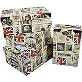 2J Juego de 3 Cajas de cartón con Tapa London con ángulos y Asas metálicas. Medidas: L 36x25x13,5 cm - M 33,5x23x13 cm - S 31,5x22x12 cm
