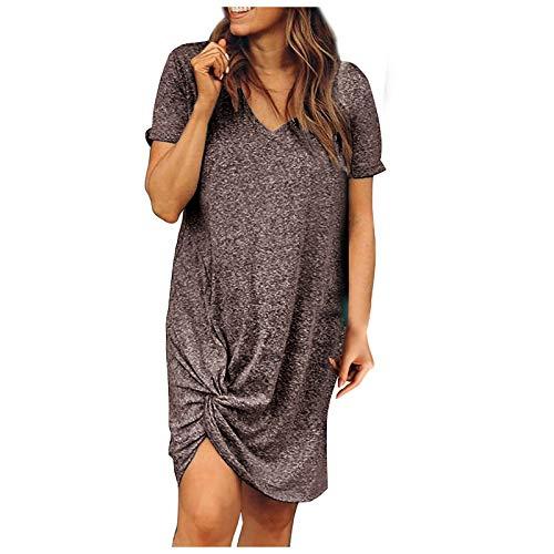 Liably Vestido de verano para mujer, de un solo color, atado con el nudo, cuello en V, manga corta, elegante, suelto, para la playa, de noche, de fiesta, mini vestido café XL