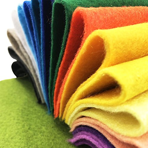 AiMay 50pcs Soft Felt Fabric Pack Felt Squares Sheets for DIY Craft Assorted Colors 1.4mm Thickness (10 cm x 10 cm)
