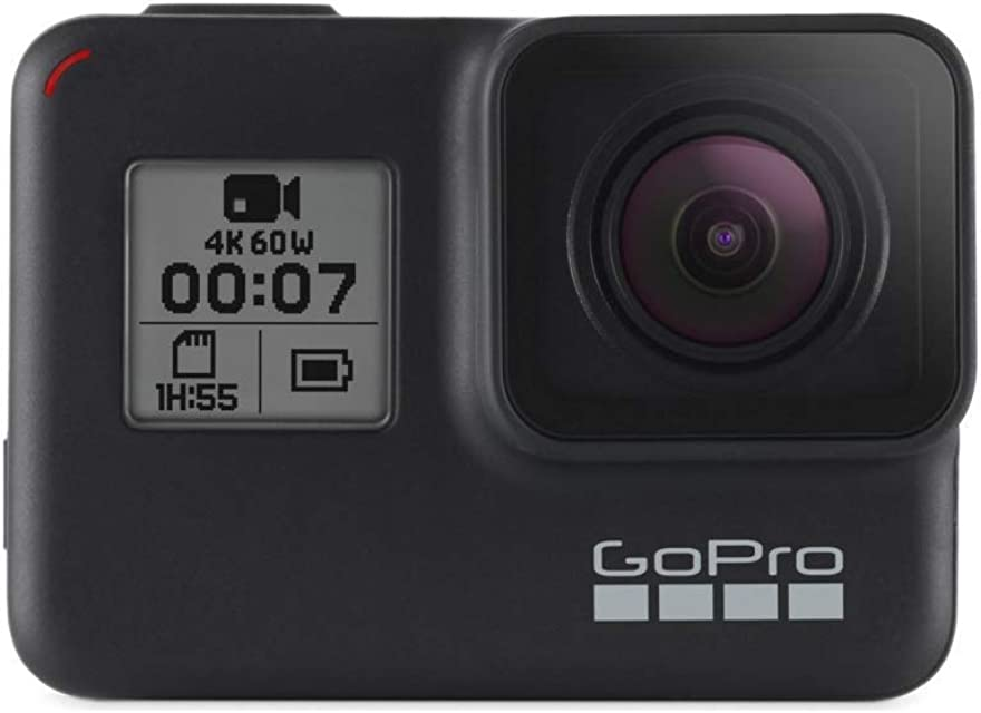 GoPro  HERO7  Black  -  Cámara  de  acción  (sumergible hasta 10m pantalla  táctil  vídeo  4K  HD  fotos  de  12  MP  transmisión  en  directo  y  estabilizador) color negro