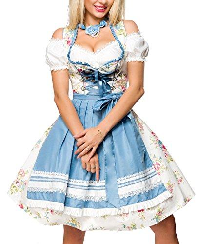 Dirndl jurk kostuum met hartvormige uitsnijding lint vetersluiting en schort van bloemen stof en kant Oktoberfest Dirndl blauw/wit