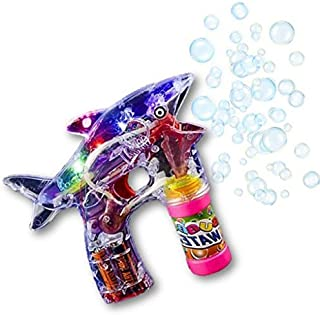 Play Kreative SHARK Light Up Bubble Gun Blaster Toy – Flashing Led Lights, Battery Operated Bubble Machine - For Kids, Boys, Girls, Playing, Outdoors, Indoors, Fun Activities & Party Favors