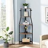 O&K FURNITURE 5-Tier Industrial Corner Ladder Shelf, Standing Tall Corner Bookshelf, Small Corner Bookcase for Living Room, Kitchen, Home Office, Brown
