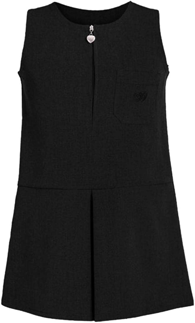 Janisramone New Girls Heart Pocket Zip Up Plain Pleated Pinafore Kids School Uniform Dress