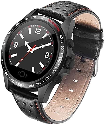 Impermeable Bluetooth Deportes Reloj Inteligente Monitor de Ritmo Cardíaco Paso Contador de Calorías Recordatorio de Llamada Cámara Remota Pulsera de Cuero 30 Días Tiempo de