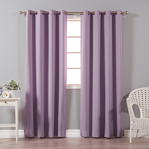 Best Home Fashion Thermal Insulated Blackout Curtains - Antique Bronze Grommet Top - Lavender- 52' W x 84' L - (Set of 2 Panels)