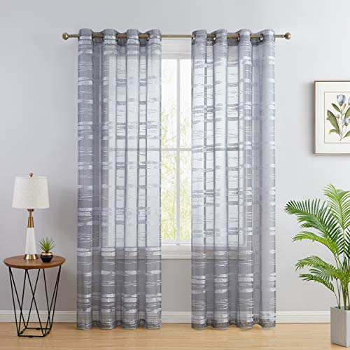 HLC.ME Broadway Stripe Decorative Semi Sheer Light Filtering Grommet Window Treatment Curtain Drapery Panels for Bedroom & Living Room - Set of 2 Panels (54 x 96 inches Long, Silver/Light Grey)