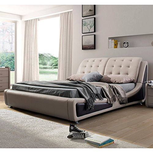 US Pride Furniture B8049-QB Contemporary Platform Bed, Queen, Brown
