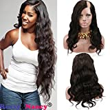 Rossy&Nancy 10A Grade Product 100% Virgin Brazilian Human Hair Left U Part Wigs Wavy with Side Bangs 180% Density Natural Black color 16inch