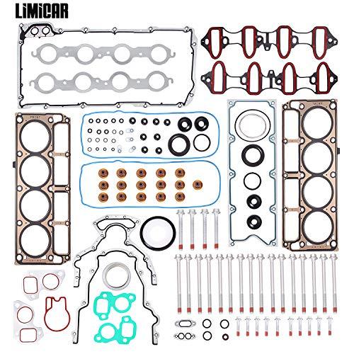 LIMICAR Cylinder Head Gasket Set Head Bolts ES72173 (1st Generation) Compatible w/ 2002 2003 2004 2005 2006 2007 2008 2009 2010 2011 Chevrolet Silverado Tahoe GMC Yukon Envoy Buick Cadillac 4.8L 5.3L