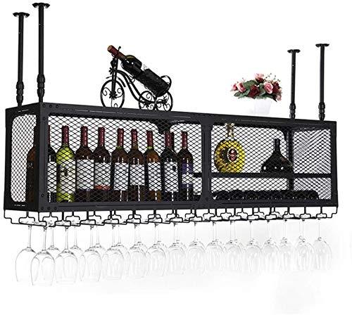 Elegante Botellero, Colgando Vino Titular Copas de uva organizador del almacenaje de 2tier industrial de altura ajustable for colgar del techo titular de la botella de vino for la cocina / bar / resta