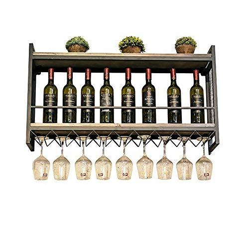 BBWYYQX Vino Estante Montado en la Pared Hierro Arte en la Pared Estante Vino Monitor Estan Vino Vaso Estante Aplicar a Cocina Restaurante Bar Botella Estante/A / 100×20×55cm