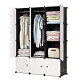 JYYG Portable Wardrobe Closets 14'x18' Depth Bedroom Armoire, Storage Organizer, 6 Cubes + 2 Hangers