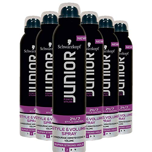 Schwarzkopf Junior Power Styling 24/7 Control Style en Volume Haarspray 250ml, 6 stuks