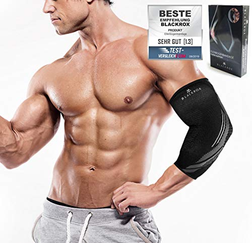 BLACKROX Ellenbogenbandage Vergleichssieger, Tennisarm Bodybulding mit Kompression für Damen & Herren, elastisch, für Fitness Volleyball, Handball, Kraftsport, rechts o. Links (M)