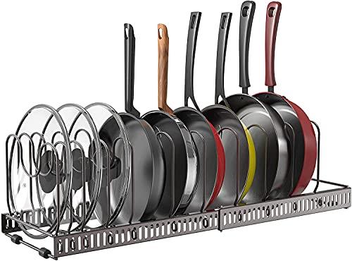 伸縮式 鍋ラック 鍋収納ラック (七つ仕切り フライパンスタンド) キッチンフライパンラック 鍋ラック フライパンラック 多機能 収納ラック 鍋蓋 まな板