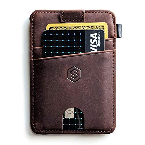 Strapo Wallet V2 - Expandable Minimalist Wallet - Slim & Secure Wallet - With Elastic Strap, Premium Durable Leather, RFID Blocking, Convenient pull-out strap (Dark Brown)