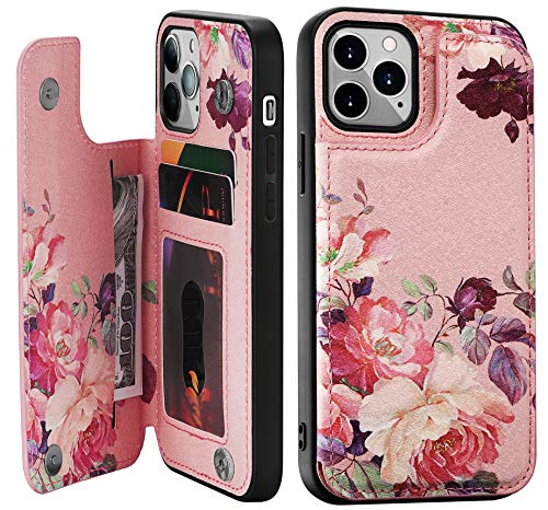 Crosspace Case Compatible with iPhone 12/12 Pro 5G[6.1 inch,2020 Release],Case Wallet for Women and Girls with Card Holder & Special Design,Premium PU Leather Flip Cover Cases-Pink Flower