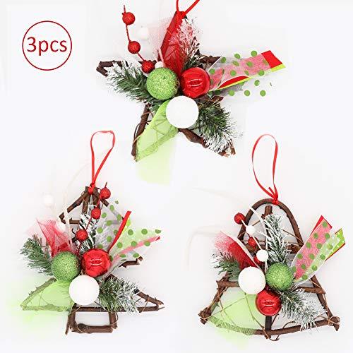 Bibivisa 3X Guirnalda De Navidad De Ratán, Corona de Navidad Madera con Cintas de Colores y Bola de Brillo Adornos...