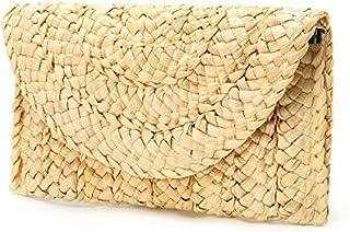 Obosoyo Women's Straw Clutch Handbag Straw Purse Envelope Bag Wallet Summer Beach Bag Woven Bag Purse Wallet