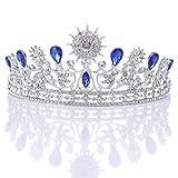Beaupretty 1 unid Rhinestone nupcial tiara vintage exquisita reina tiara corona accesorio para el cabello para novia mujeres boda decoración del cabello o tocado (azul y plata)