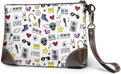 Portemonnaie, Rock Music Bag - Luxury Womens Genuine Leather Clutch Cell Phone Handbags,Zipper Purse For Women