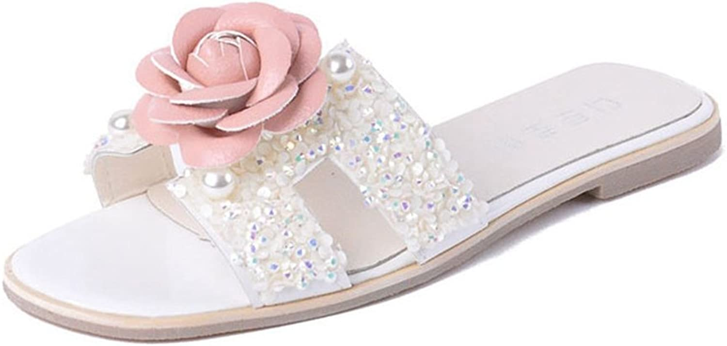 U-MAC Womens Slide Sandal Fashion Sequins Floral Non-Slip Summer Slip-On Beach Flat Slipper
