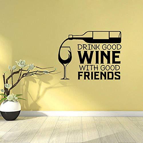Decors Meisjes 66Cm*50.7Cm Drink Goede Wijn met Goede Vrienden Home Decor PVC Muursticker Keuken Restaurant