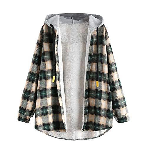 Abrigo de forro polar para mujer, manga larga, a cuadros, cierre de botón, dobladillo curvado, cordón con capucha, chaqueta cálida
