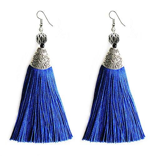 Blue Big Long Drop Earrings Generous Dangle Beaded Tassel Earring for Women Girls