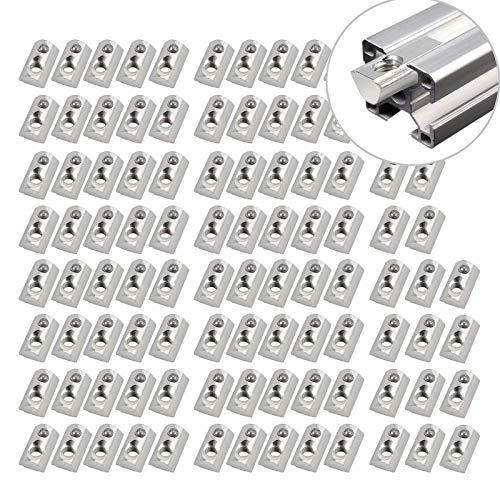 100x Nutensteine Nut8 M6 mit Zentrierung Kugel, EypiNS Nutensteine T-Nut Schrauben Gewinde mit Steg Federkugel Aluprofil Verzinkt Aluminiumprofil-Extrusionsschlitz der europäischen Standard 3030, 3060