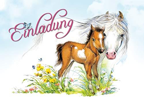 Edition Colibri, 11070, 10 paarden-uitnodigingen voor kinderverjaardag voor meisjes of jongens, set van 10 liefdevol geïllustreerde paarden, uitnodigingskaarten voor verjaardag