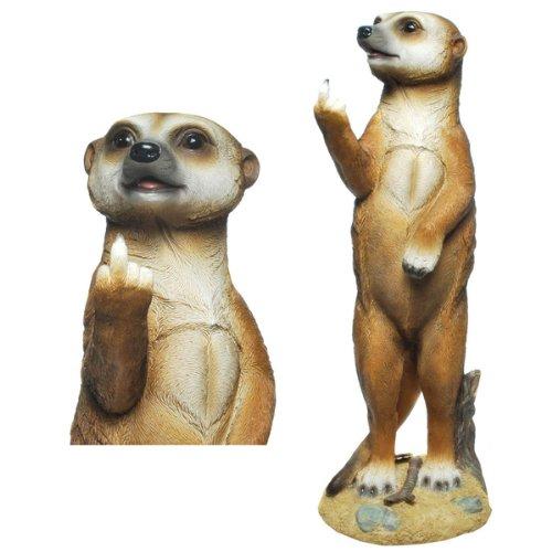 Erdmännchen (E01) Figur (Mittelfinger) Erdmännchen Figur Gartenfigur-verschiedene Modelle in meinem Shop- Wetterfest Gartenzwerg Deko Polystone