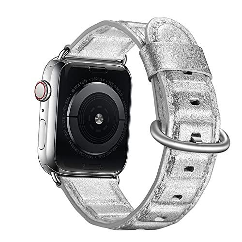 Correa Reloj para Apple Watch Series 1/2/3/4/5/6/SE, Compatible con iWatch Band 38mm 40mm 42mm 44mm con Hebilla de Acero Inoxidable, Cuero Genuino Correa de Reloj,Silver,42mm/44mm